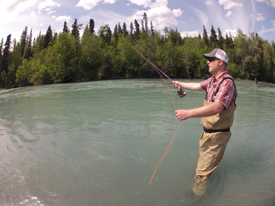 Working on my sockeye salmon fishing technique along the Kenai River in Alaska July 3, 2014. Photo by Mike Leake.
